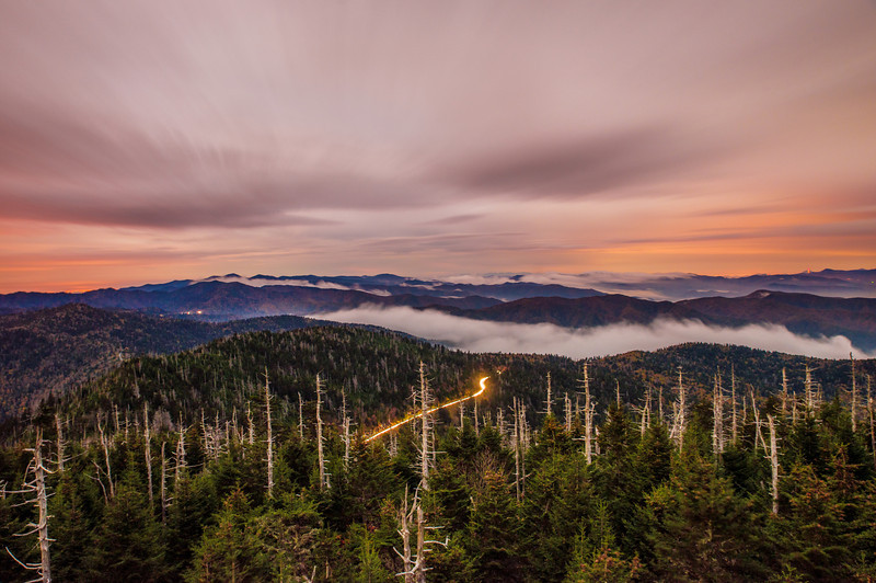 Sunrise from Clingmans Dome in Great Smoky Mountains ...