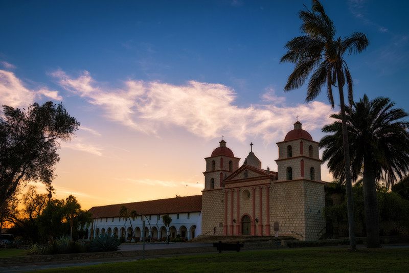 old-mission-santa-barbara-sunset-palms