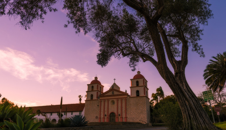 old-mission-santa-barbara-sunset-tree