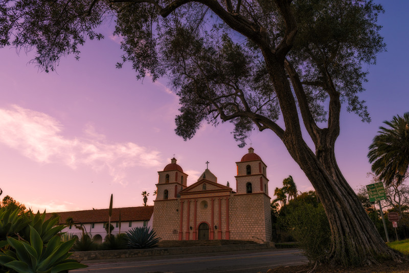old-mission-santa-barbara-sunset-tree